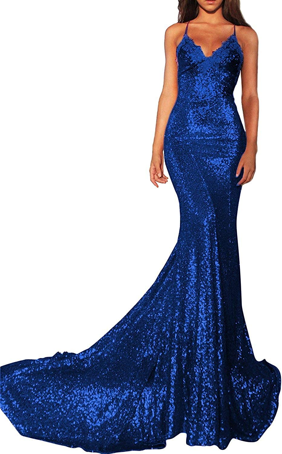 20KyleBird Sexy Spaghetti Strap Sequins Pageant Dresses Lace Mermaid Prom Dresses Long 2018 VNeck Backless Evening Gown