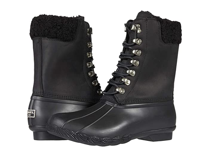 Vintage Boots- Winter Rain and Snow Boots History Sperry Saltwater Tall Cozy Leather Black Womens Shoes $159.95 AT vintagedancer.com