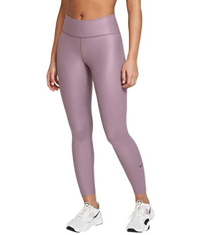 Nike One Mid-Rise 7/8 Faux Leather Tights (Purple Smoke/Dark Raisin) Women