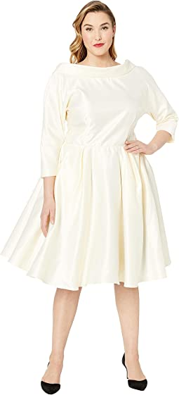 Plus Size 1950s Style Satin Sleeved Lana Bridal Dress
