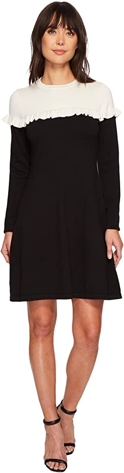 CeCe - Long Sleeve Color Block Sweater Dress w/ Ruffle