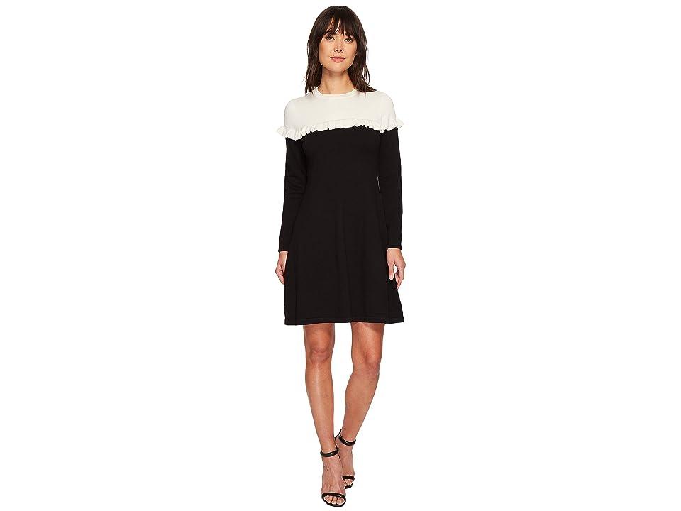 CeCe Long Sleeve Color Block Sweater Dress w/ Ruffle (Antique White) Women