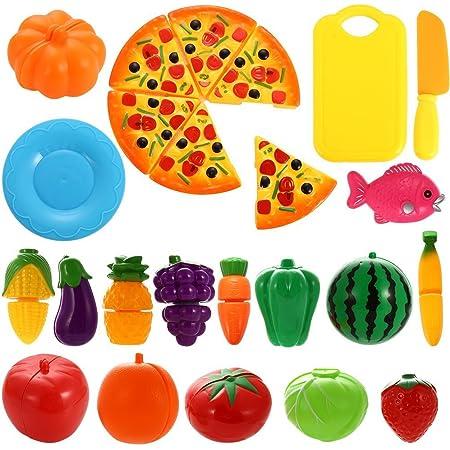 NIWWIN - Juego de 24 piezas de plástico con forma de frutas, verduras y pizza para cortar, juego educativo de simulación para niños