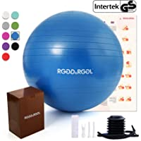RGGD&RGGL 18-34in Professional Yoga Stability Ball with Quick Pump & Workout Guide (Blue)