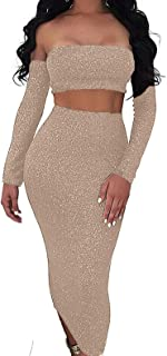Women Sparkly Sexy Off Shoulder Backless Long Sleeve Lace Up Cut-Out Bodycon Dress