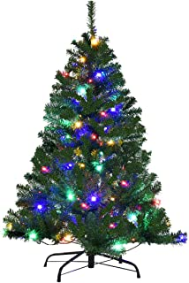 Goplus 4FT Pre-Lit Artificial Christmas Tree Auto-Spread/Close up Branches 11 Flash Modes with Multicolored LED Lights & Metal Stand