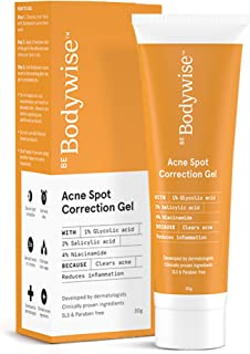 Be Bodywise 1% Salicylic Acid, 1% Glycolic Acid and 4% Niacinamide Acne Spot Correction Gel | Active Acne Treatment | 30 g...
