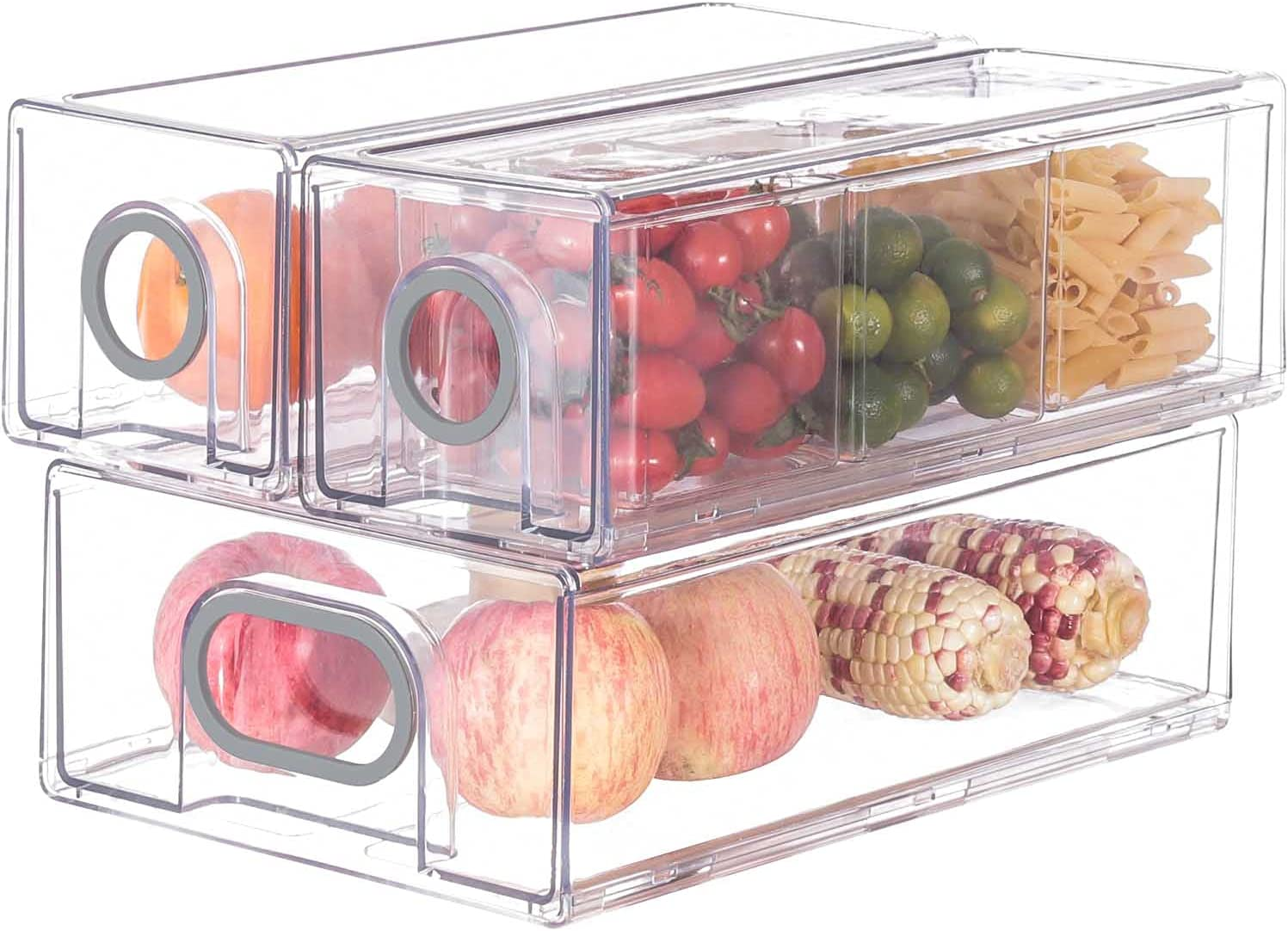 Refrigerator Organizer Bins, Set of 6 Pantry Organization Drawers Cabinet Organizers And Storage-for Freezers, Countertops and Cabinets-BPA Free Clear Plastic Pantry Storage Racks, Grey Handle 6