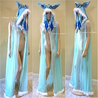 Glaceon Ear Cape Robe Cosplay Halloween Rave Costume
