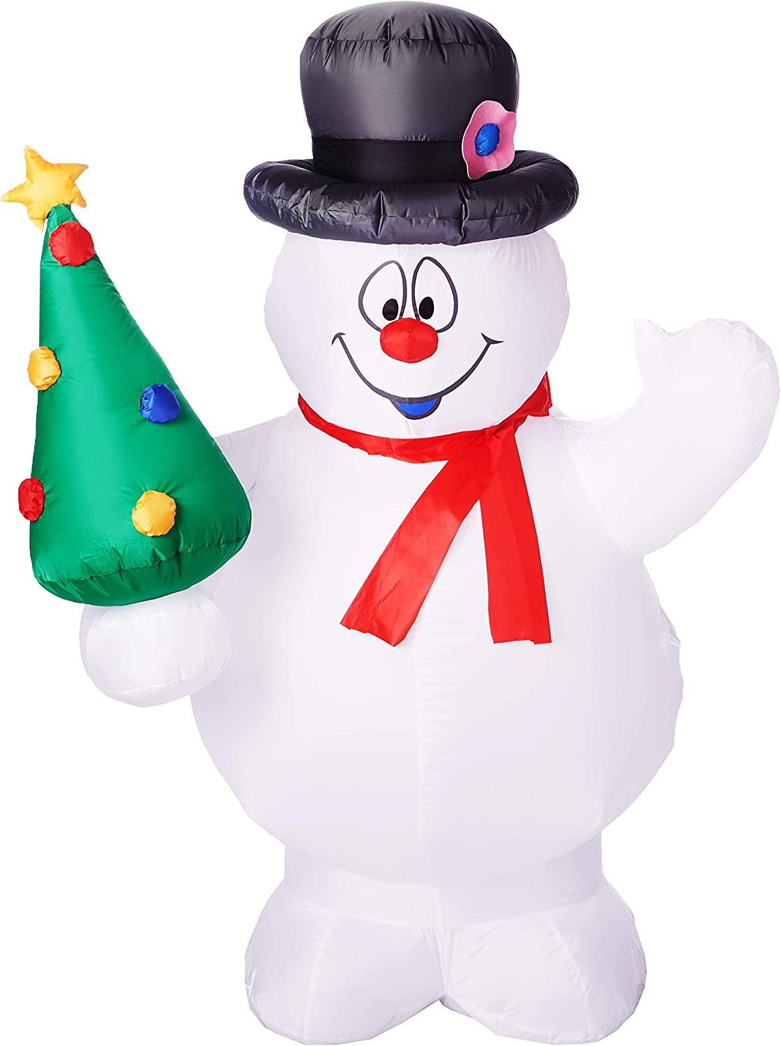 Gemmy Airblown Christmas Indoor Outdoor Frosty The Snowman Holding a Christmas Tree 5Ft. Tall