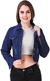 G.S.A ENTERPRISES Women Full Sleeves Regular Collar Denim Dark Blue Jacket for Women