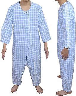 Carecoa 【理学療法士監修】 つなぎパジャマ 介護 パジャマ 介護つなぎ 介護寝間着 介護用パジャマ 特殊なホックで開けにくい構造 (ブルー, M)