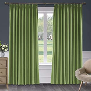 Macochico Blackout Faux Linen Curtains Pinch Pleated Drapes Panel with Blackout Lining for Bedroom Window Room Divider Sliding Glass Door, Green 50 W x 63 L, 1 Panel