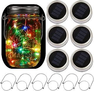 6-Pack Solar-powered Mason Jar Lights 20 LEDs(6 Hanger Included / No Jar),5 Colors Twinkle Jar Waterproof Hanging Lantern,Outdoor Garden String lighting Lids for Regular Mouth Jars for Christmas Patio