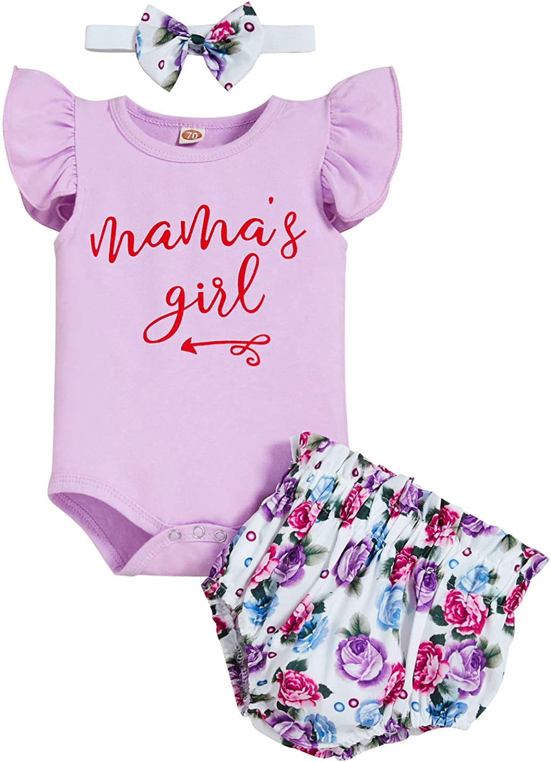 Newborn Baby Girls Clothes Daddy's Girl Mommy's World Romper+Flower Pants+Headband Outfit Set