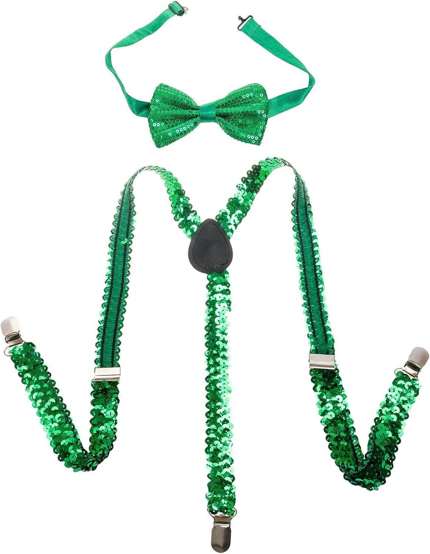 Buckletown Mens Suspender & Bow Tie Combo Pack (Green)