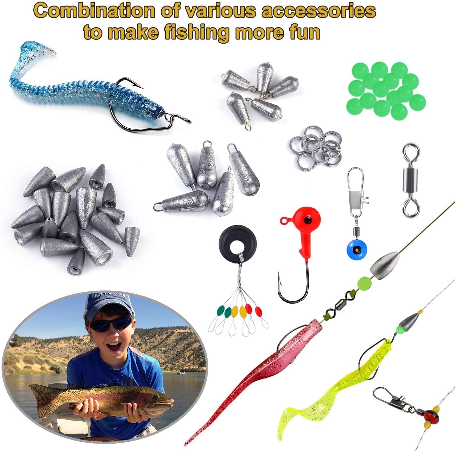 Fishing Set with Tackle Box Bullet Bass Casting Sinker Weights Sinker Slides Fishing Swivels Snaps Including Jig Hooks TOPFORT 187//230pcs Fishing Accessories Kit