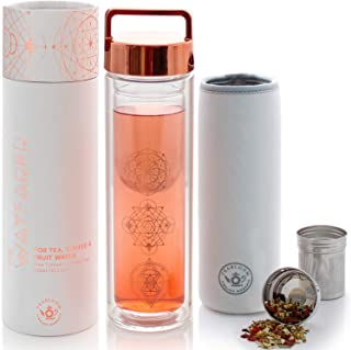 Teabloom All-Purpose Beverage Tumbler – 15 oz / 450 ml Insulated Glass Bottle – Tea,..