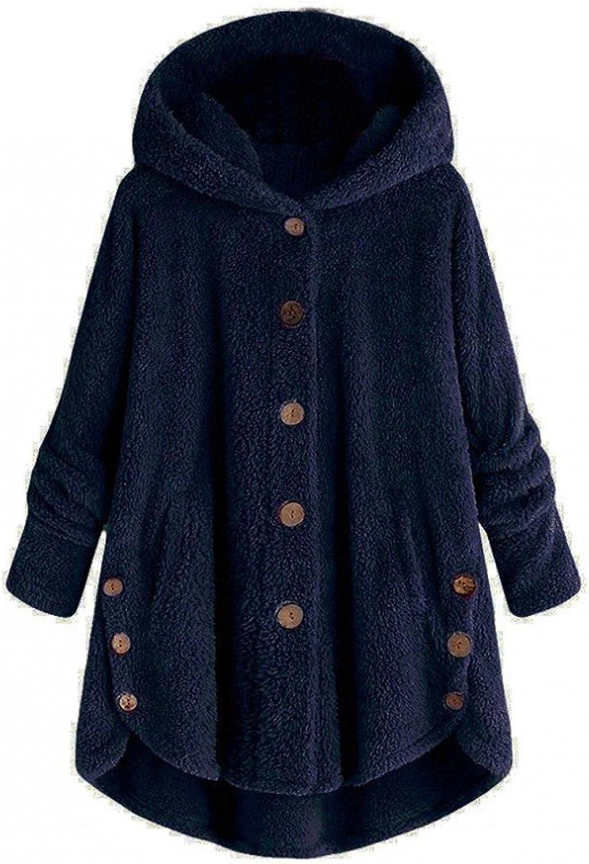 AODONG Hoodies for Women,Women Pullover Hoodie Fleece Hooded Sweatshirt Button Fleece Jacket Pocket Warm Oversized Outwear