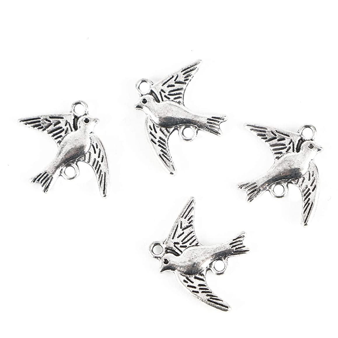 Monrocco 100Pcs Alloy Bird Charms Pendant Jewelry Findings for Jewelry Making Necklace Bracelet DIY,Antique Silver