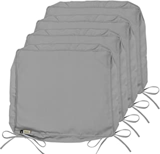 Outdoor Cushion Covers, 4-Pack Deep Seat Patio Cushion Cover, Heavy Duty Outdoor Furniture Lawn Couch Chair Seat Cushion Replacement, 24 x 22 x 4 Thick, Set of 4, Grey