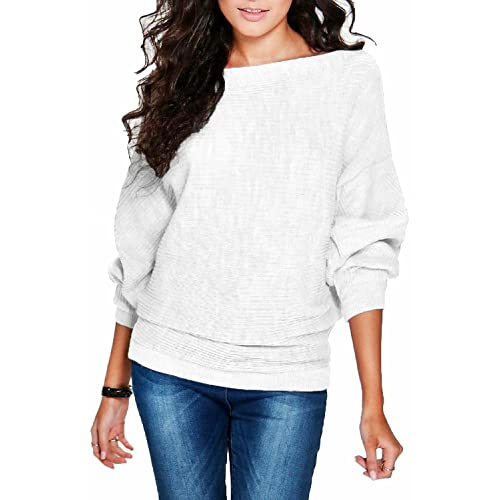 7740358991 FOUNDO Women s Casual Loose Knit Bat Sleeve Blouse Knitted Sweater Pullover  Tops