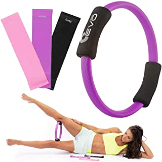 """Yoga EVO Pilates Ring 12"""" - Inner Thigh Exercise Equipment - Fitness Ring for Flexibility, Training, Body Workout, Sculpting and Strength with Resistance Loop Bands"""