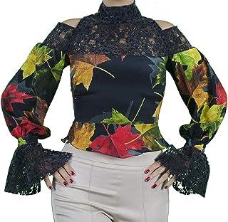 Generico Sara GHIAIE-Camicia Elegante con Collo Alto-Donna-Made in Italy-Interamente Fatta a Mano