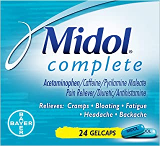 Midol Complete, with Acetaminophen, Menstrual Period Symptoms Relief Including Premenstrual Cramps, Pain, Headache, and Bloating, Gelcaps, 24 Count (Packaging May Vary)