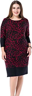 Chicwe Women's Plus Size Cashmere Touch Printed Shift Dress - Knee Length Work and Casual Dress