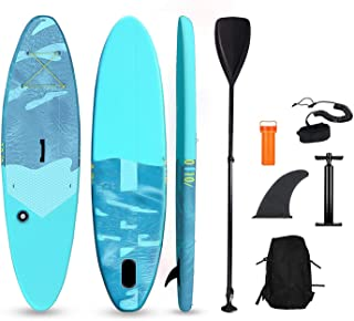 """Inflatable Stand Up Paddle Board ISUP Board 10′×32""""×6"""" Ultra-Light Compact Travel with All Accessories (Adjustable Paddle ..."""