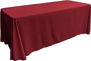 """LA Linen Polyester Poplin Rectangular Tablecloth, 90"""" x 156"""", Cranberry"""
