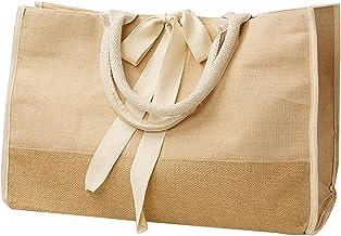 Jute Burlap Tote Bags Cotton Handles Heavy Duty Shopping, Weekender, Work (Pack of 3) (Natural)