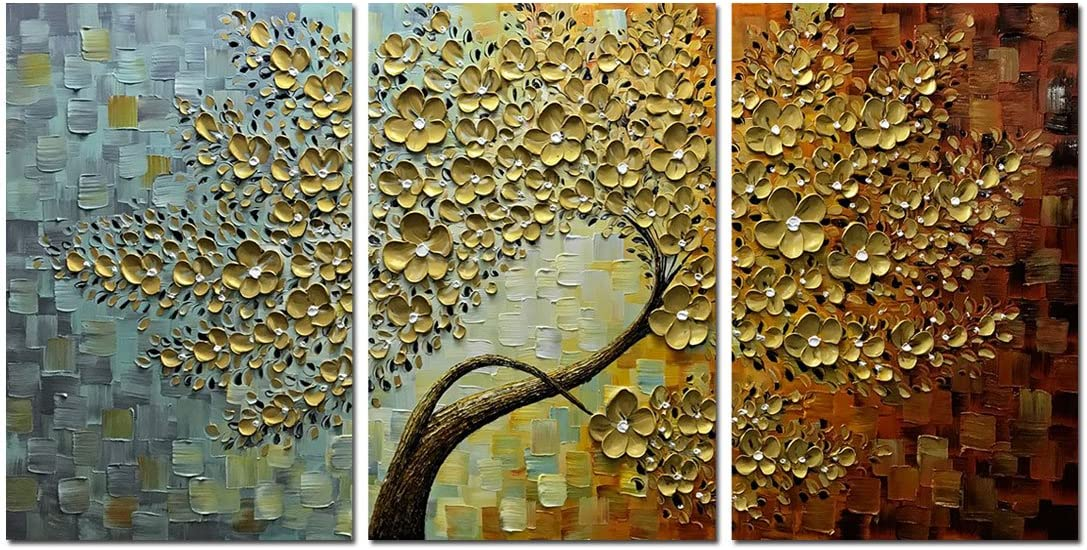 Chicago Mall V-inspire Golden Flower Discount is also underway Paintings 36x72 Abstract Inch 3D Painti