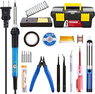 SUYAYA Soldering Iron Kit Electronics 60W Adjustable Temperature Soldering Iron, 5pcs Soldering Iron Tips, Solder, Rosin, ...