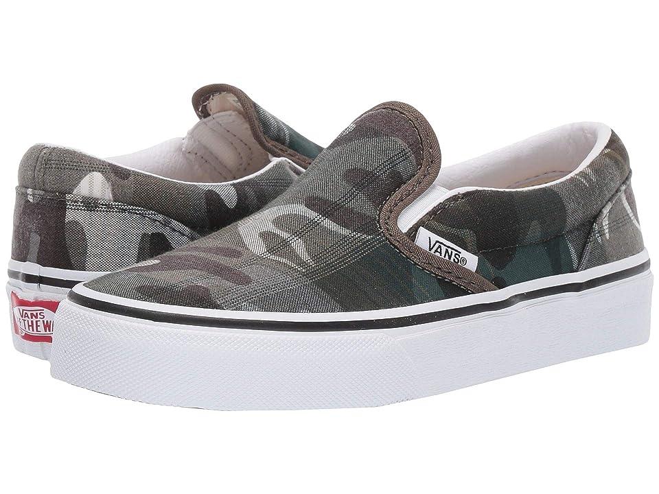Vans Kids Classic Slip-On (Little Kid/Big Kid) ((Plaid Camo) Grape Leaf/True White) Boys Shoes