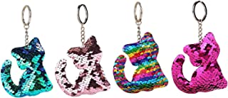 ISKYBOB Set of 4 Cute Cat Glitter Sequins Charm Keychain Bag Hanging Decoration Key Ring