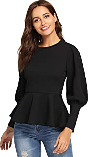 Women's Elegant Fit and Flare Ribbed Peplum Tee Top Blouses