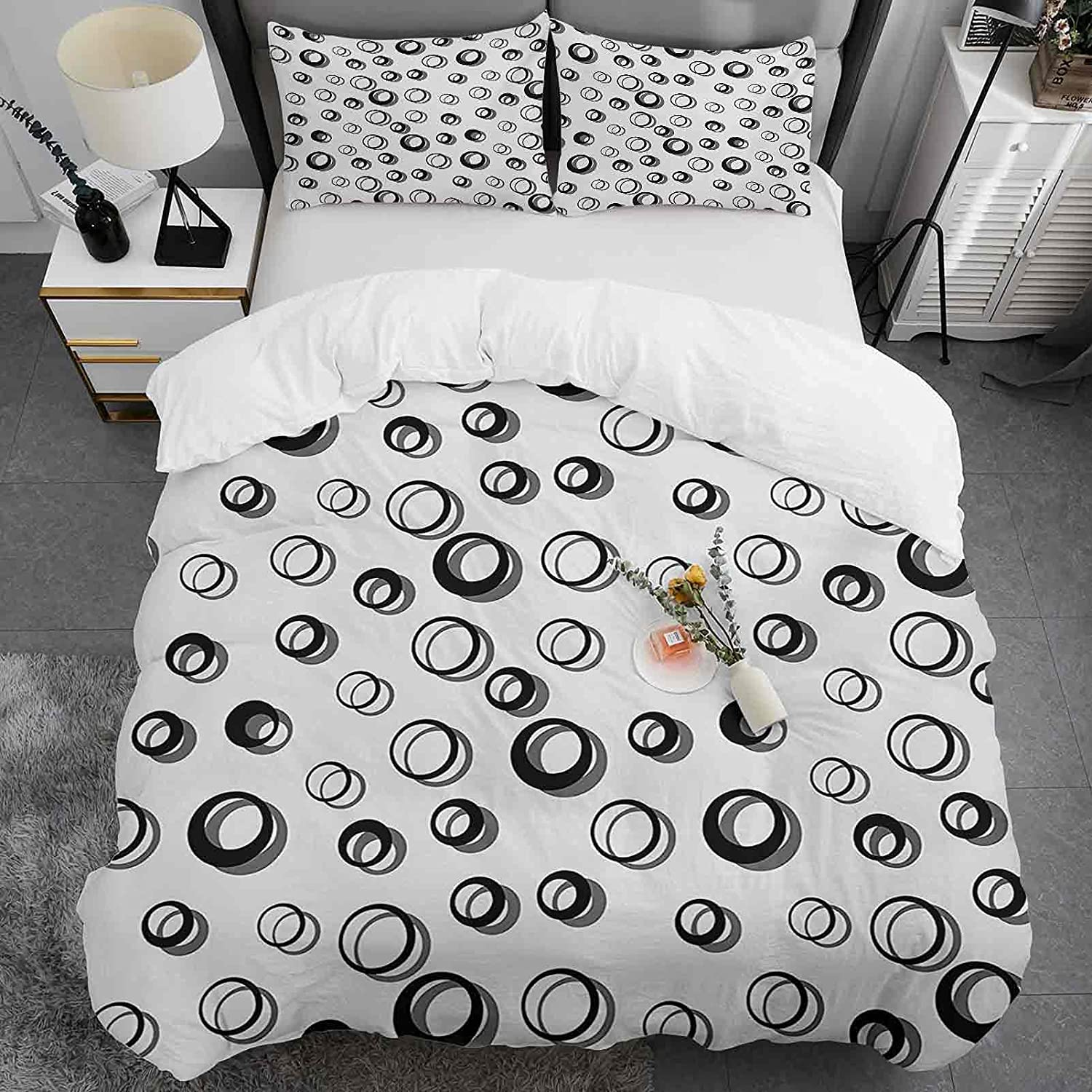 Kids free shipping Duvet Cover King Size Geometric Pattern and Br Max 46% OFF Soft Circle