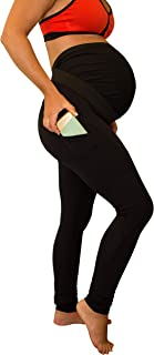 Mumberry Maternity Leggings Activewear Capri with Full Belly Coverage and Support with Pocket Made in The USA