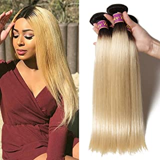 UNice 10A Grade Brazilian Straight Human Hair 1 Bundle T1B 613 Color Ombre Blonde Hair 100% Remy Human Hair Weaves Dark Roots Ombre Blonde Hair Wefts (12inch)