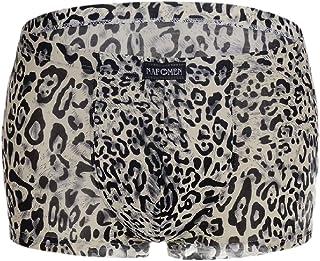 Mens Comfort Underwear Breathable Leopard Print Stretch Pouch Boxer Briefs