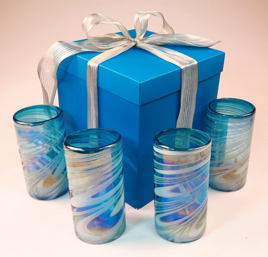 Mexican glasses turquoise white swirl box blown hand with gift 超人気 本店