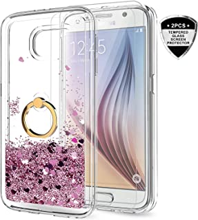 Samsung Galaxy S6 Case with Tempered Glass Screen Protector [2 Pack] for Girls Women, LeYi Cute Glitter Shiny Quicksand Clear Phone Case with Car Holder Kickstand for Samsung S6 ZX Rose Gold