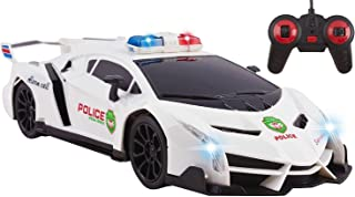 Police RC Car Toy Super Exotic Large Remote Control Sports Car with Working Headlights, Police Lights, Race Car Toy (White)