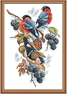 Joy Sunday 11CT Stamped Cross Stitch Kits Cross-Stitch Red Bellies Magpies and Blackberries Sewing Patterns Embriodery Kit 17''x23''
