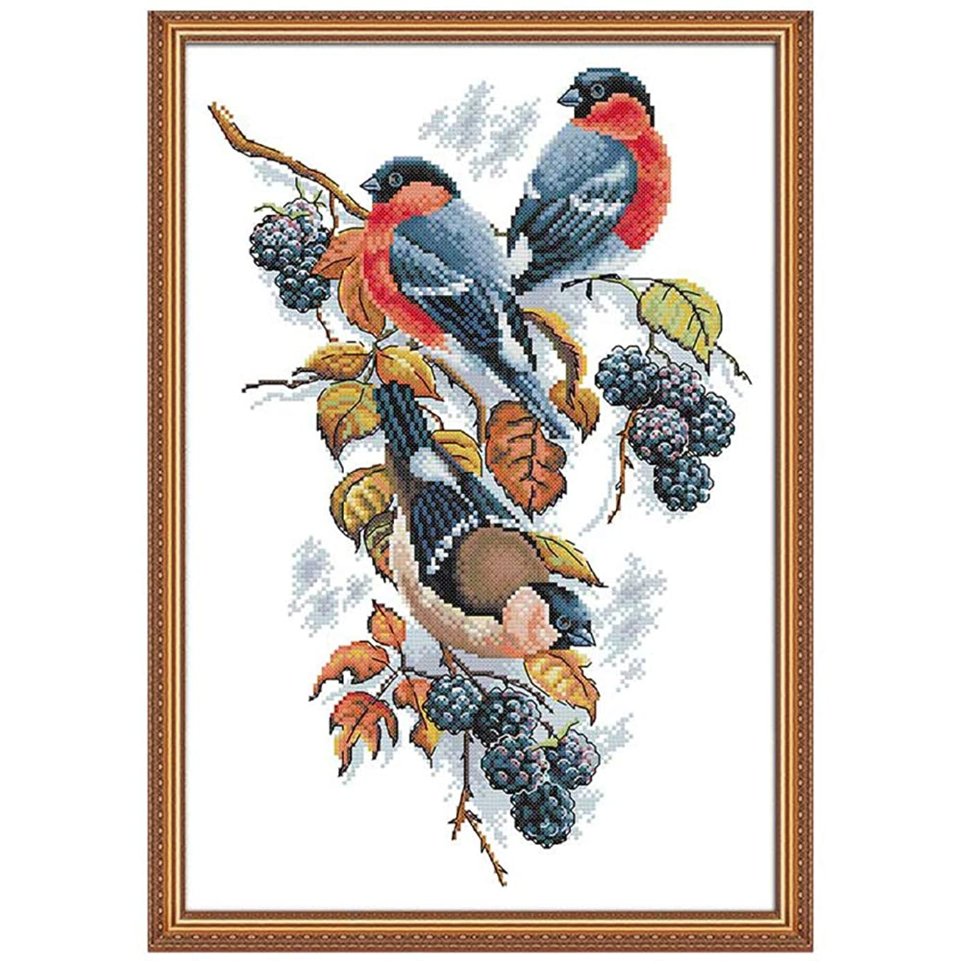 Joy Sunday 11CT Stamped Cross Stitch Kits Cross-Stitch Red Bellies Magpies and Blackberries Sewing Patterns Embriodery Kit 17''x23'' aiajzp9158