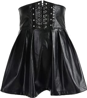 Women's Skirts Gothic Harajuku Bandage Faux Leather Black Mini Pleated Skirts 2019 Summer Party