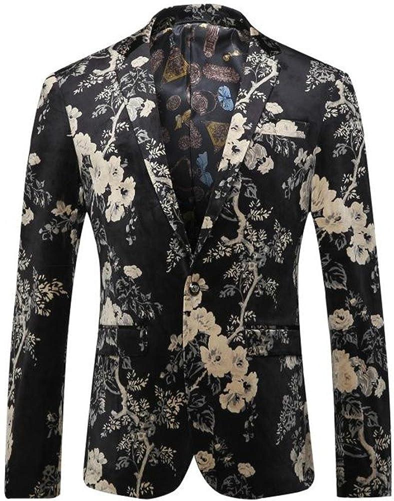 Mens Blazers Slim Fit Floral Printed Dress Notched Suit L trend rank sale Casual
