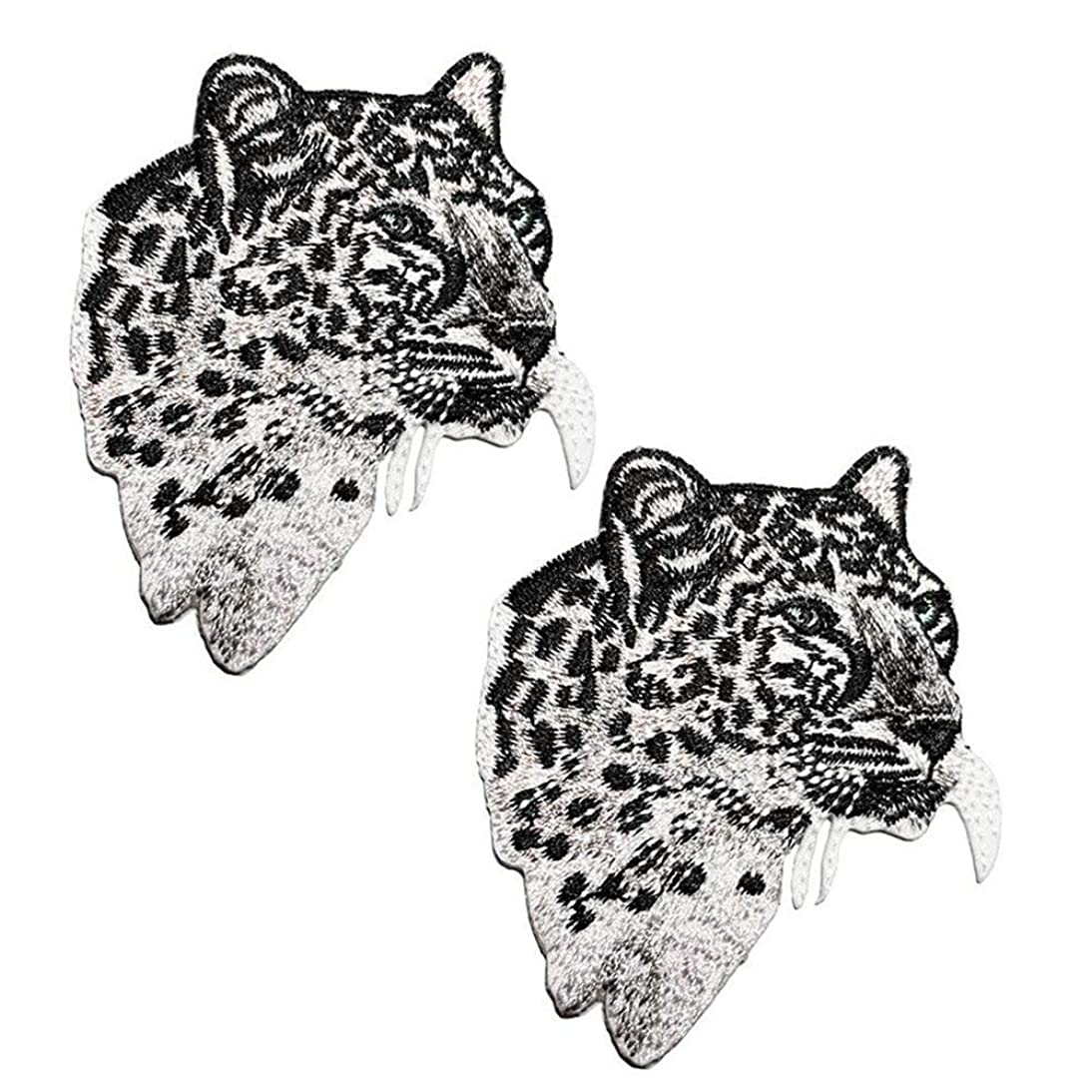 2 Pack Delicate Embroidered Patches, Iron On Patches, Cool Embroidery Patches, Sew On Applique Tiger Patch, Custom Backpack Patches for Men, Boys, Kids, Super Cool! (#1 Leopard (2 Pack))